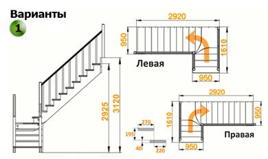 Деревянная лестница К-032М