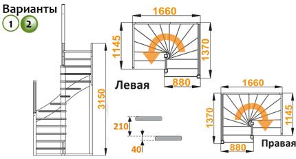 Деревянная лестница К005м
