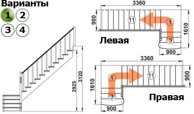Деревянная лестница К002м