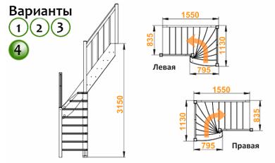 Деревянная лестница ЛС-91м